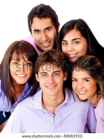 Group of young people smiling ? isolated over a white background - stock photo