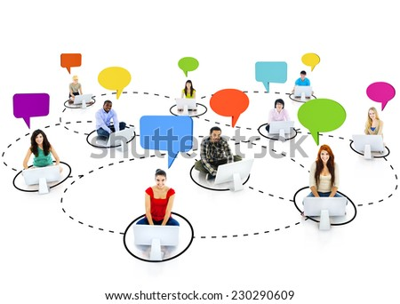 Group of Young People Social Networking