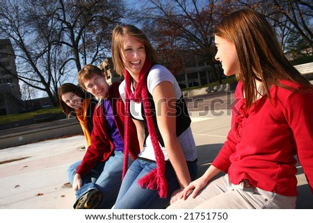 Group of young people talking - stock photo