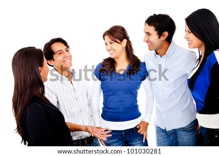 Group of young people talking - isolated over a white background - stock photo