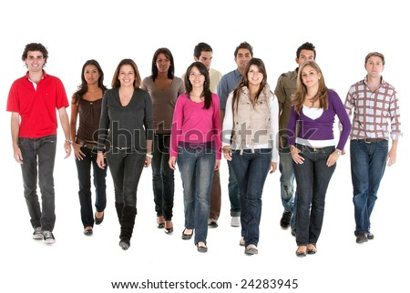 group of young people walking and smiling isolated over a white background - stock photo