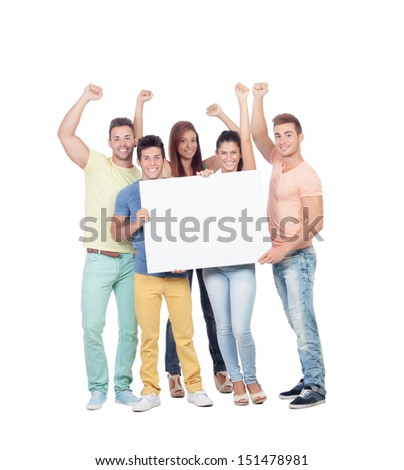 Group of young people with a blank poster isolated on white background - stock photo