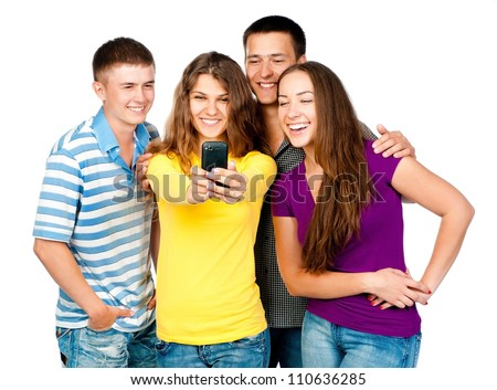 group of young people with mobile phone on a white background - stock photo