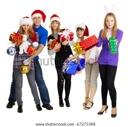 Group of young people with New Year's gifts - stock photo