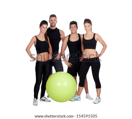 Group of young people with sport clothes isolated on a white background - stock photo