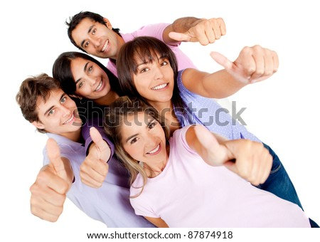 Group of young people with thumbs-up - isolated over a white background - stock photo