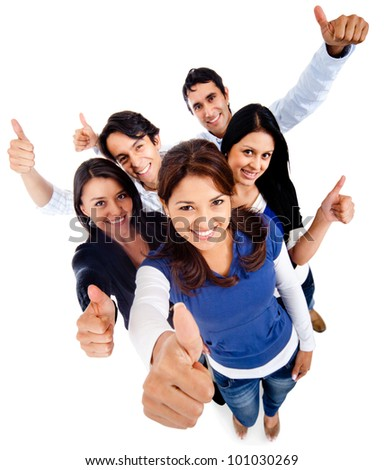 Group of young people with thumbs up - isolated over white