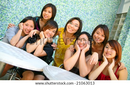 group of young pretty asian girl smiling. concept for friendship