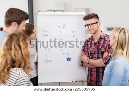 Group of Young Professional Individuals Discussing the Formulated Conceptual Diagram from Brainstorming Inside the Office. - stock photo