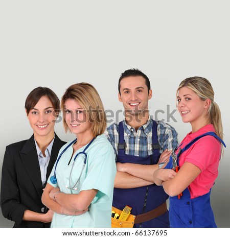 Group of young professional people on white background - stock photo
