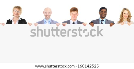 group of young smiling business people. Over white background - stock photo
