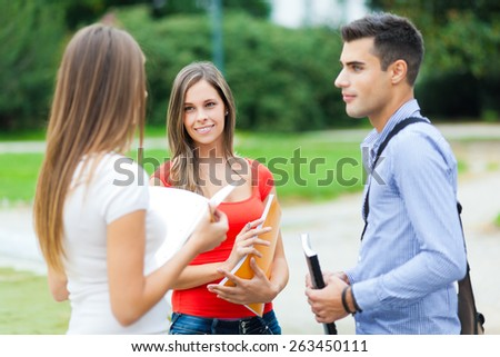 Group of young students - stock photo