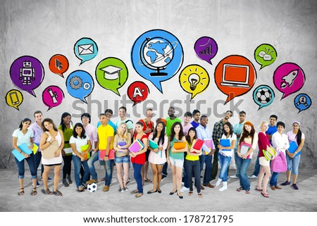 Group of Young Students with Speech Bubbles - stock photo
