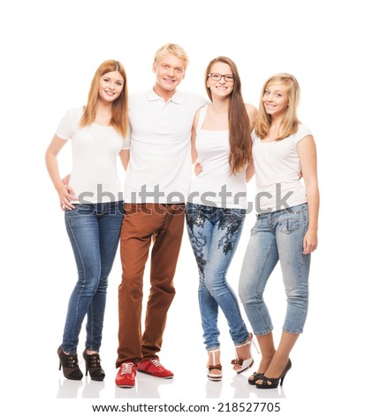 Group of young, stylish and happy teenagers isolated on white background