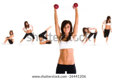 Group of young woman doing exercise - stock photo