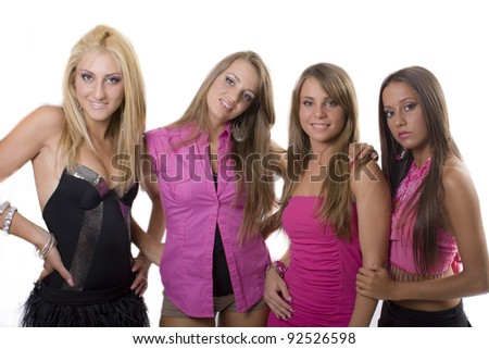 Group of young women playing and joking-on isolate background