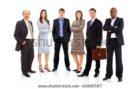 group or crowd of isolated small people in a line - stock photo