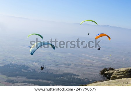 group paragliding, extreme sport stock photo - stock photo