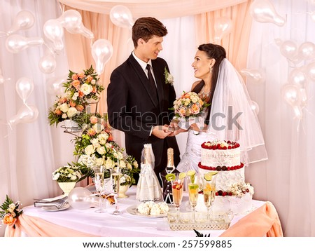 Group people at wedding table. Balloon decoration. - stock photo