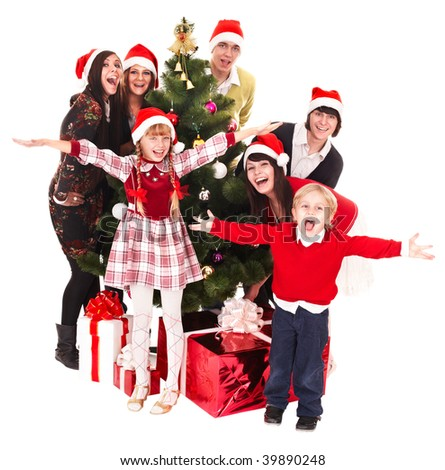 Group  people, children  in santa hat with christmas tree. Isolated. - stock photo
