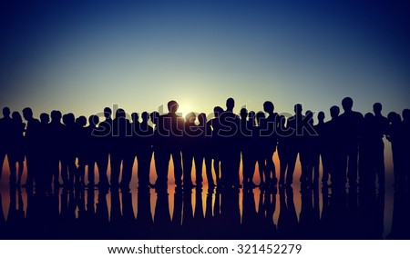 Group People Corporate Business Standing Silhouette Concept - stock photo