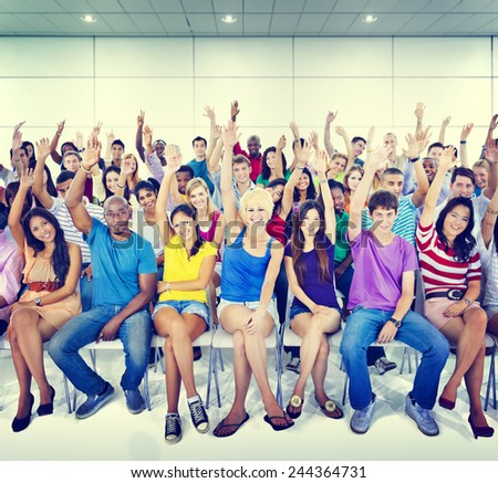 Group People Crowd Cooperation Suggestion Casual Multicolored Concept - stock photo