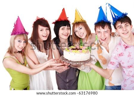 Group people eat cake. Isolated. - stock photo