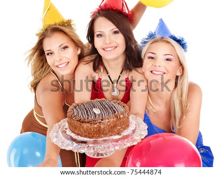 Group people holding cake and ballon. Isolated. - stock photo