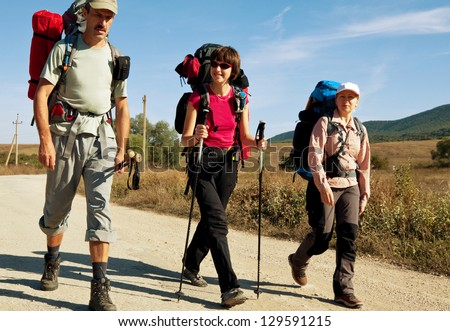 Group people in hike - stock photo