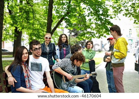 Group people in park. Outdoor. - stock photo