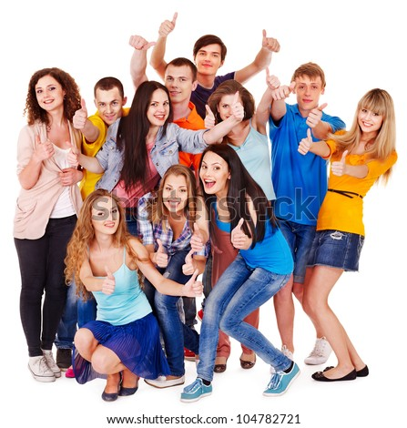Group people isolated thumb up. - stock photo