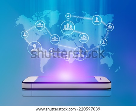 Group people network for a successful business in a smartphone - stock photo