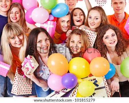 Group people with balloon on party. Isolated.