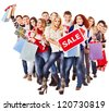 Group people with board sale and shopping bag. - stock photo