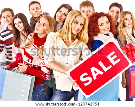 Group people with board sale and shopping bag.