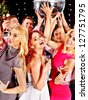 Group people with  champagne dancing at Christmas party. - stock photo
