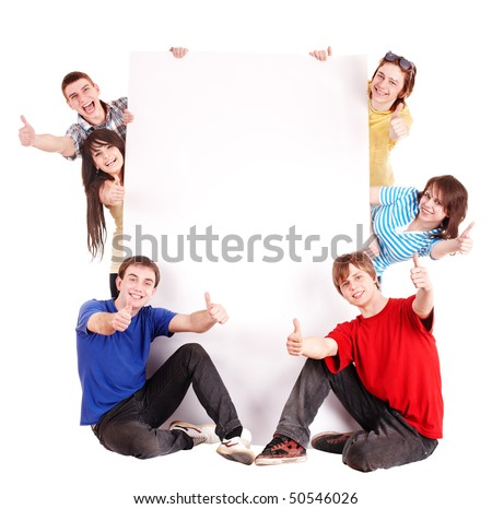 Group people with thumbs up and banner.Isolated. - stock photo