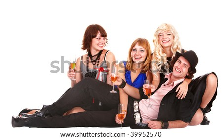 Group people with white wine. Isolated.