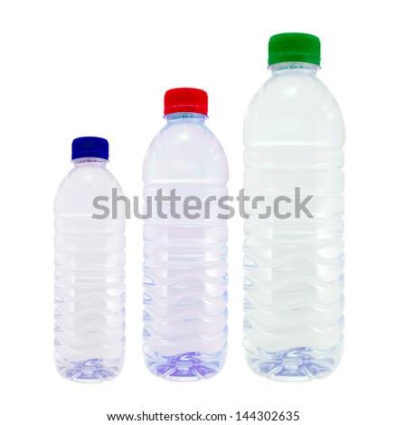 Group plastic bottles Isolated on white - stock photo