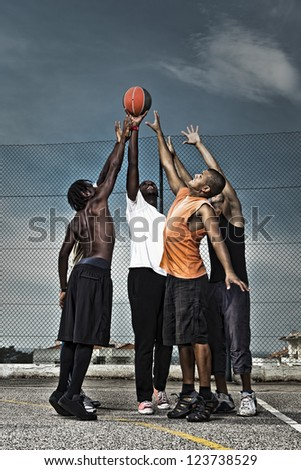 Group portrait of a street basketball team