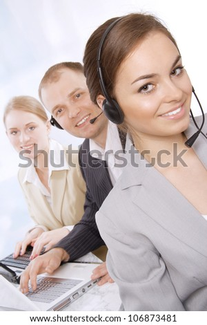 Group portrait of customer service representatives