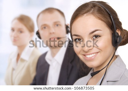 Group portrait of customer service representatives - stock photo