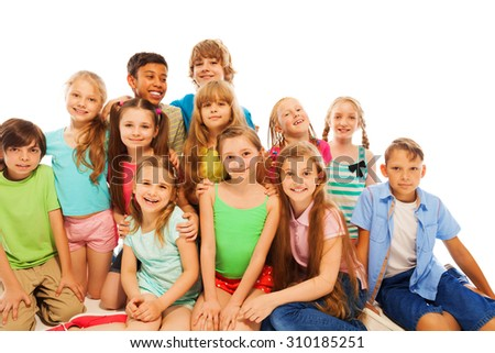 Group portrait of cute 8 years old kids