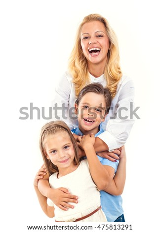 Group portrait of happy family.Isolated on white.