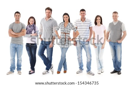 Group portrait of happy young people together, looking at camera, smiling. - stock photo