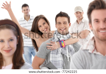Group portrait of happy young people together, looking at camera, smiling.? - stock photo