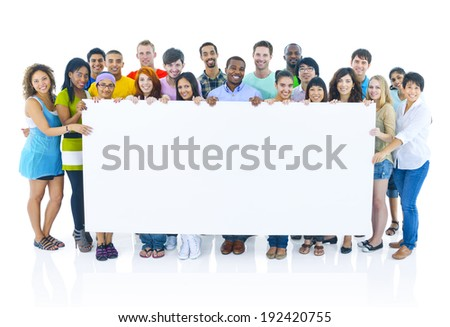 Group portrait of international youths - stock photo