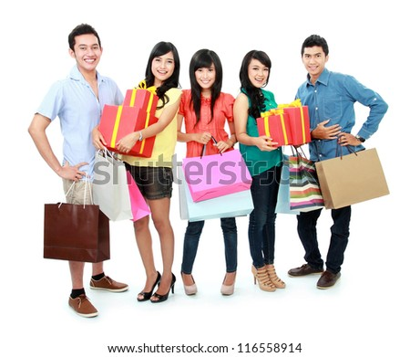 Group portrait of people shopping together isolated on white background