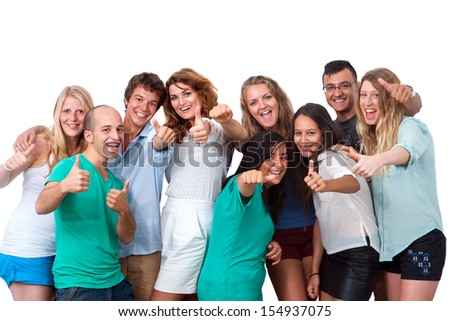 Group portrait of young people doing thumbs up.Isolated on white. - stock photo