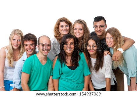 Group portrait of young students isolated on white background.